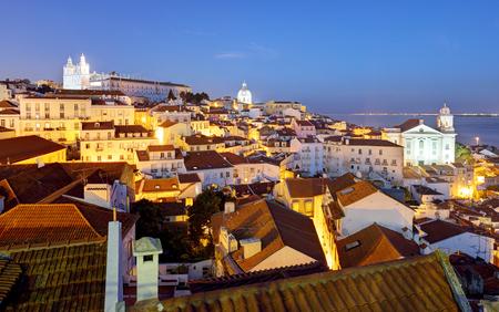 Lisboa at night from miraduro Portas do Sol 写真素材