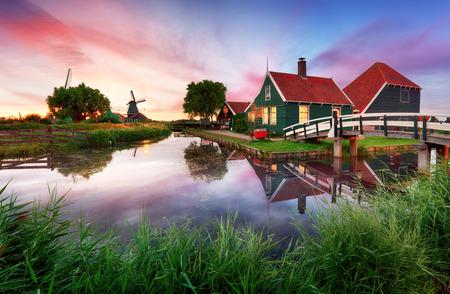 Landscape of Netherlands windmills at night 写真素材