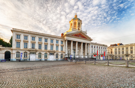 Brussels - Royal Square with church Saint Jacques  sur Coudenberg and monument of Godefroid Van Bouillon. 写真素材