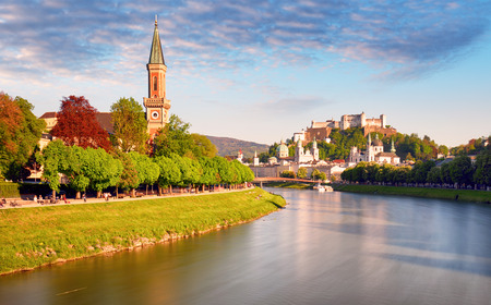 Classic view of the historic city of Salzburg with Salzburg Cathedral