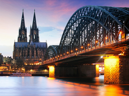 Cathedral in Cologne at night