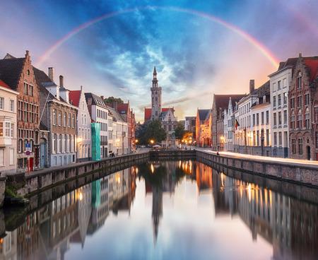 Canals of Bruges with rainbow, Belgium 写真素材