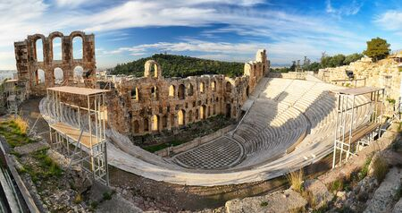 Athens - Ruins of ancient theater of Herodion Atticus in Acropolis, Greece 写真素材