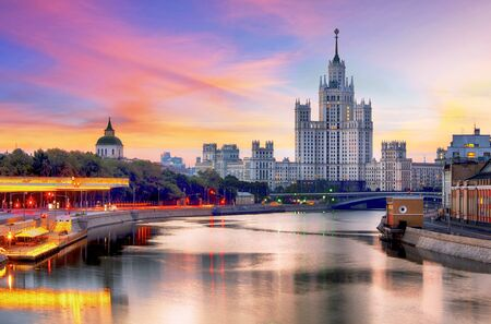 Skyscraper on Kotelnicheskaya embankment at sunset, Moscow Imagens - 124878983