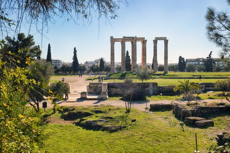 Ruins of ancient temple of Zeus, Athens - Greece