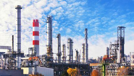 Zakład petrochemiczny ropy naftowej i gazu, fabryka przemysłowa Zdjęcie Seryjne