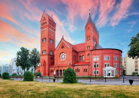 Red Church or Church Of Saints Simon and Helen at independence Square in Minsk, Belarus Stok Fotoğraf