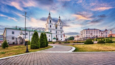 Minsk, Belarus. The Cathedral Of Holy Spirit In Minsk - The Main Orthodox Church Of Belarus And Symbol Of Capital Stok Fotoğraf