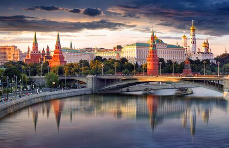Russia, Moscow city skyline at sunset