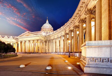 Cathedral of Our Lady of Kazan, Russian Orthodox Church in Saint Petersburg at night