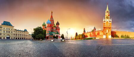 Panorama in Moscow at sunrise, Red square with saint Basil in Russia