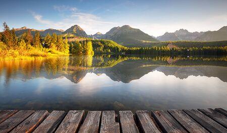 Mountain lake Strbske pleso and High Tatras national park, Slovakia - landscape Stok Fotoğraf