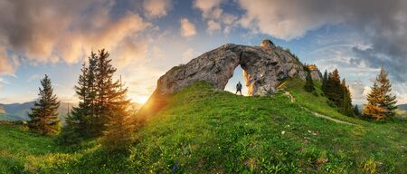 Low Tatra mountain summer landscape panorama. meadow with huge stones among the grass. Stok Fotoğraf