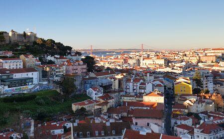 Panorama of Lisbon at night, Portugal