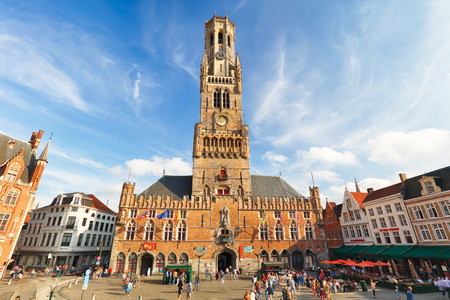 The Belfry Tower, aka Belfort, of Bruges, medieval bell tower in the historical centre of Bruges, Belgium.