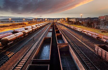 Railway station freight trains, Cargo transport Stok Fotoğraf