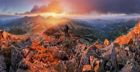Slovakia mountain landscape at dramatic sunset, Panorama of Rohace Tatras