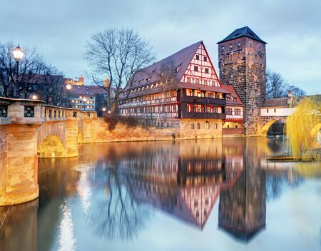Nuremberg town - The riverside of Pegnitz river, Germany