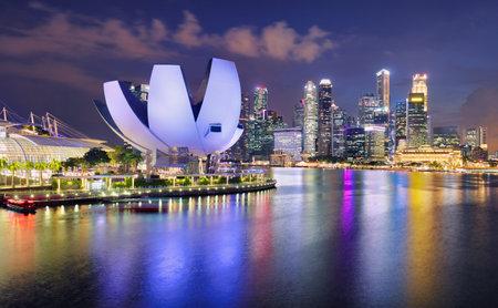 Singapore panorama skyline at night, Marina bay Editorial