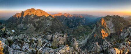 Mountain sunset panorama from peak - Slovakia Tatras Archivio Fotografico