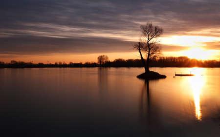 Beautiful landscape view of tree and lake at sunrise Фото со стока