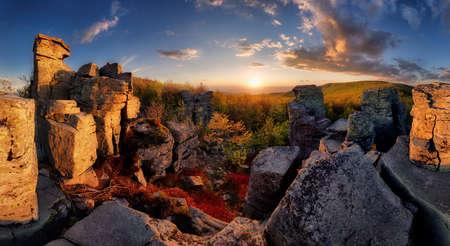 Rocks in mountain landscape at sunset panorama in Slovakia, Vtacnik