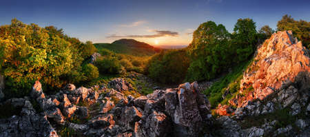Forest nature landcape with peak and sun at dramatic sunset, Slovakia - Carpathian