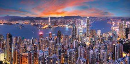 China - Hong Kong cityscape at night Фото со стока
