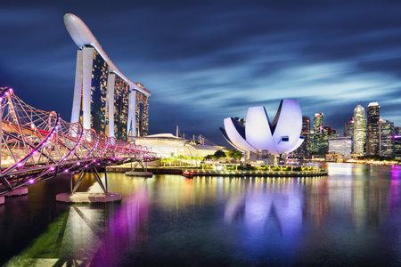 Singapore panorama skyline at night, Marina bay Редакционное
