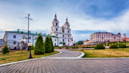 Minsk, Belarus - Orthodox Cathedral of the Holy Spirit viewed at sunset