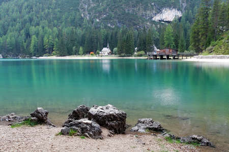 Lake in Italy mountain -  Lago di Braies in Alps Mountains