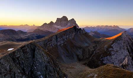 Mountain panorama at autumn sunrise, Dolomites, Italy, Mt. Pelmo Фото со стока