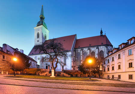 St. Martin's Cathedral in Bratislava at night, Slovakia