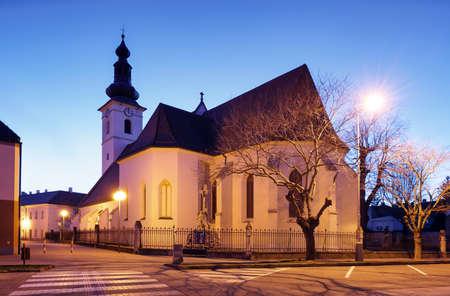 Church in Slovakia city Pezinok at night