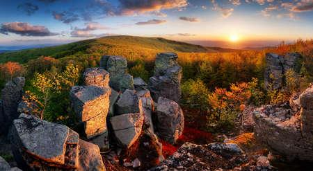 Mountain dramatic sunset panorama from peak, Vtacnik landscape - Slovakia