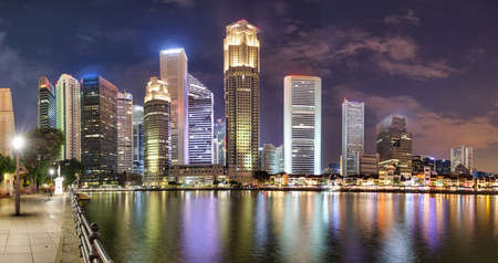Singapore night city skyline at business district