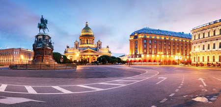 Panorama of Saint Petersburg night city skyline at Saint Isaac Cathedral, Russia Фото со стока