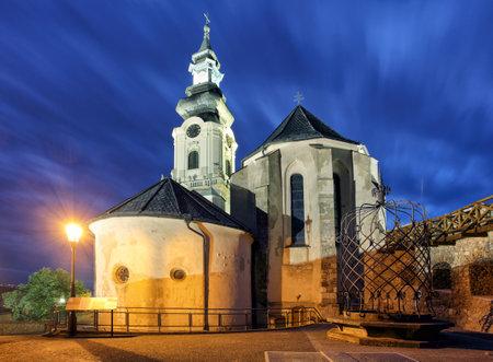 Slovakia, Nitra castle at night Редакционное