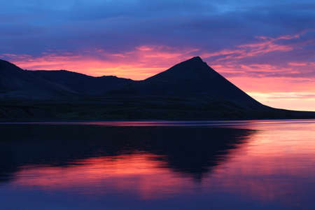 Iceland red sunset