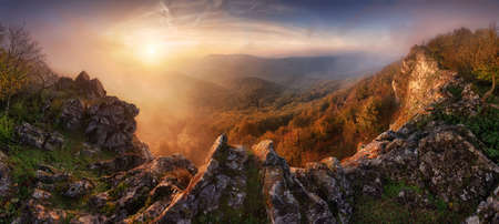 Dramatic sunrise in mountains with fog and sun - landscape panorama, Slovakia Reklamní fotografie