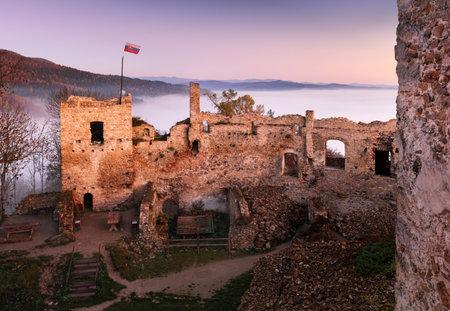 Slovakia castle at sunrise with mist - Ruin of Povazsky hrad Reklamní fotografie - 159274636