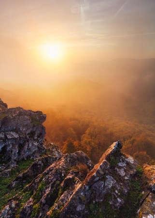 Majestic sunset in the mountains landscape with sunny beams. Dramatic scene. Carpathian, Slovakia, Europe. Reklamní fotografie - 159659645