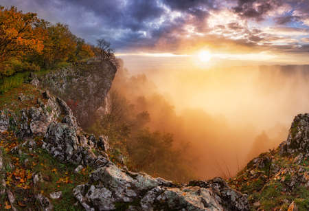 Majestic sunset in the mountains landscape with sunny beams. Dramatic scene. Carpathian, Slovakia, Europe.