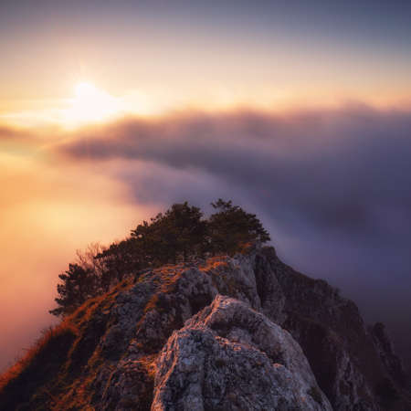 Beautiful landscape, misty fog on mountain slopes. Abstract view with sun Reklamní fotografie - 162588981
