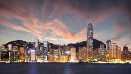 Hong Kong skyline at night, China Redakční