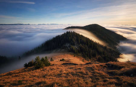 Sunset in a Carpathian mountain valley with wonderful gold light on a hills