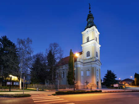 Church in village Voderady - Slovakia at night Reklamní fotografie