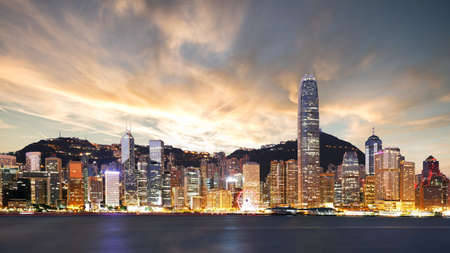 Beautiful view of Hong Kong at sunset