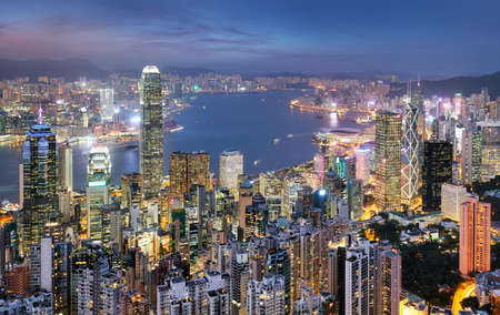 Hong Kong skyline from Victoria peak at night, China