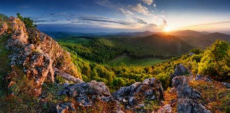 Slovakia - Vysoka hill, dramatic sunrise mountain nature panorama with rocks and forest